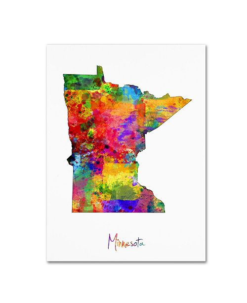 "Trademark Global Michael Tompsett 'Minnesota Map' Canvas Art - 35"" x 47"""