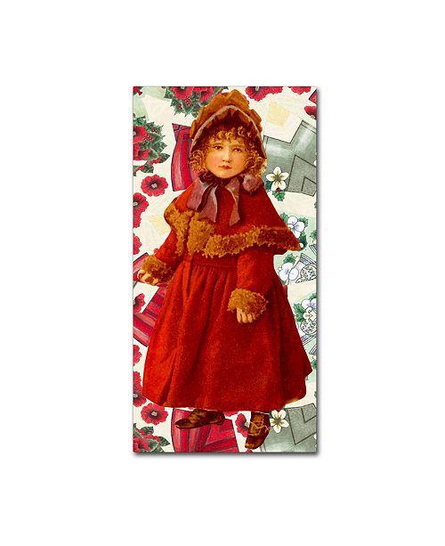 "Trademark Global Vintage Apple Collection 'Victorian Girl Christmas' Canvas Art - 12"" x 24"""