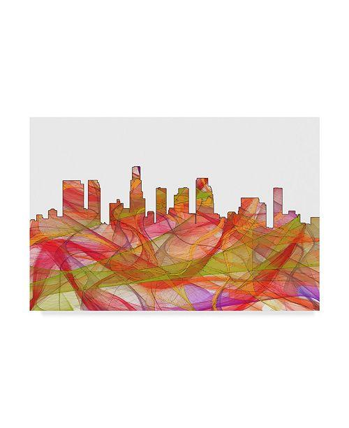 "Trademark Global Marlene Watson 'Los Angeles California Skyline Swirl' Canvas Art - 12"" x 19"""