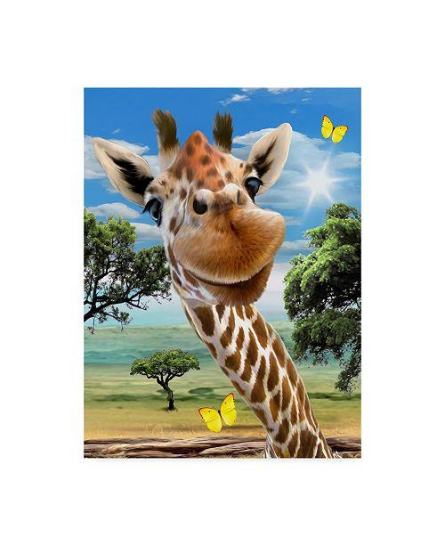 "Trademark Global Howard Robinson 'Giraffe Smile' Canvas Art - 14"" x 19"""