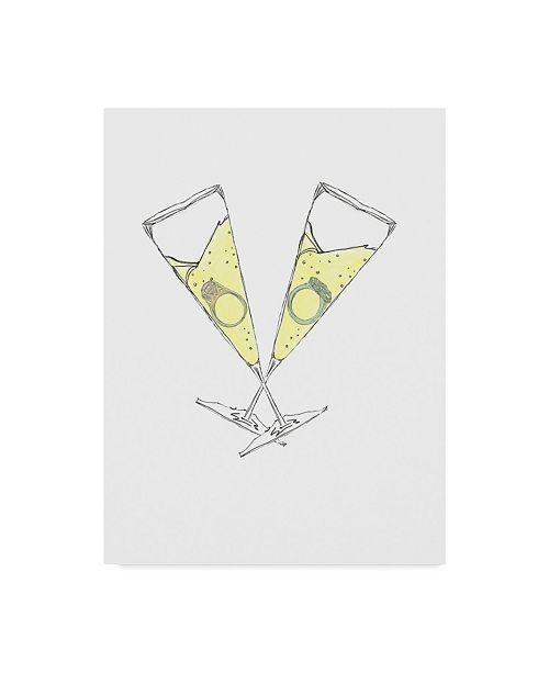 "Trademark Global Jessmessin 'Wedding Champagne' Canvas Art - 14"" x 19"""