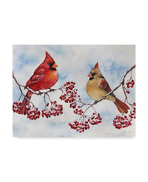 """Trademark Global Jean Plout 'Cardinals And Winter Berries' Canvas Art - 14"""" x 19"""""""
