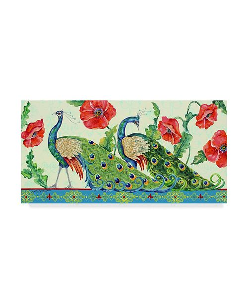 """Trademark Global Jean Plout 'Two Peacocks' Canvas Art - 10"""" x 19"""""""
