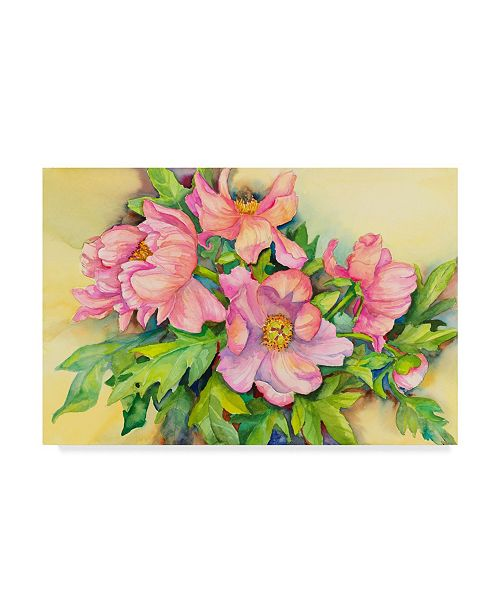 "Trademark Global Joanne Porter 'Peonies In Early Light' Canvas Art - 12"" x 19"""