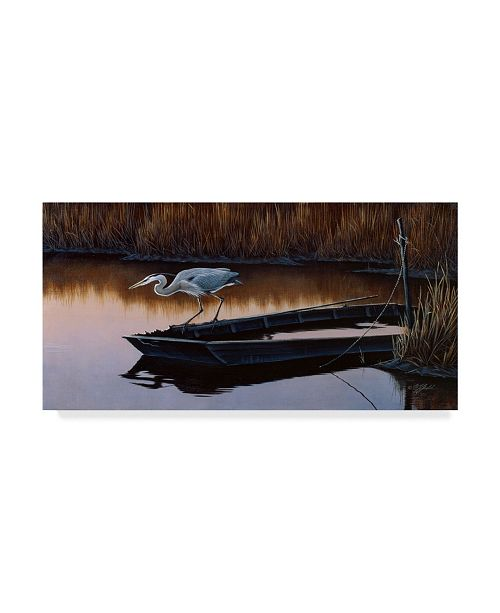 "Trademark Global Wilhelm Goebel 'Vantage Point Great Blue Heron' Canvas Art - 12"" x 24"""