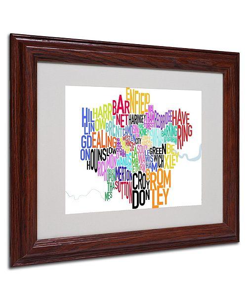 """Trademark Global Michael Tompsett 'London Text Map' Matted Framed Art - 14"""" x 11"""""""