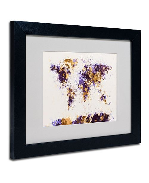"Trademark Global Michael Tompsett 'Paint Splashes World Map 4' Matted Framed Art - 14"" x 11"""