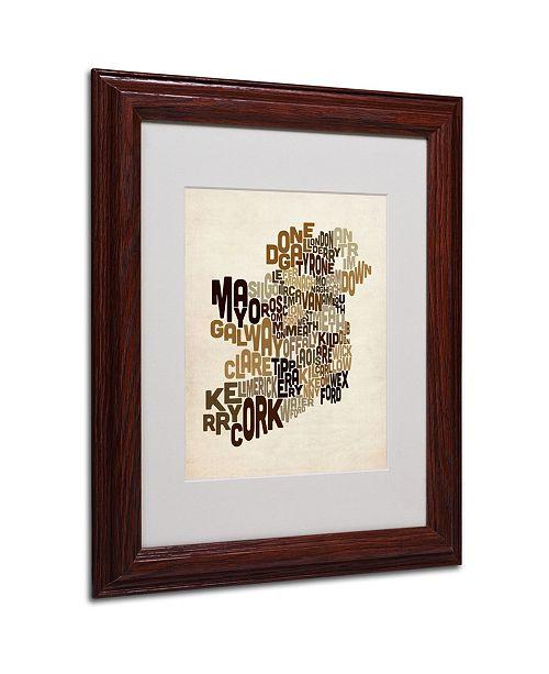 """Trademark Global Michael Tompsett 'Ireland Text Map 2' Matted Framed Art - 14"""" x 11"""""""