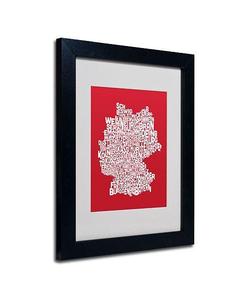 "Trademark Global Michael Tompsett 'RED-Germany Regions Map' Matted Framed Art - 14"" x 11"""