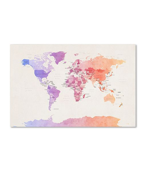 "Trademark Global Michael Tompsett 'Poltical Watercolor Map' Canvas Art - 12"" x 19"""
