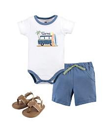 Hudson Baby Baby Cotton Bodysuit, Shorts and Shoe Set
