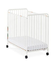"""Chelsea Compact Steel Non-Folding Crib, Slatted Ends, 2"""" Casters"""