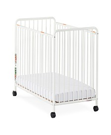 "Chelsea Compact Steel Non-Folding Crib, Slatted Ends, 2"" Casters"