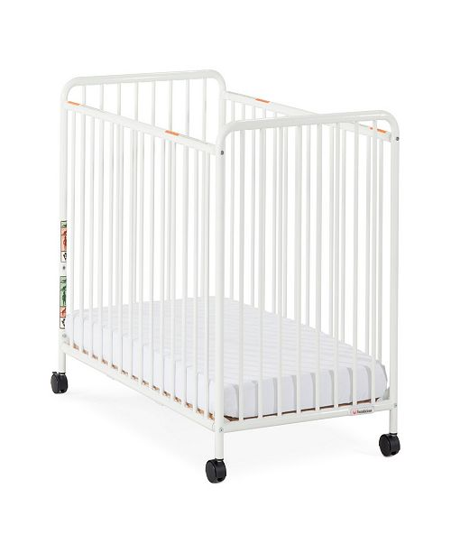 """Child Craft Chelsea Compact Steel Non-Folding Crib, Slatted Ends, 2"""" Casters"""