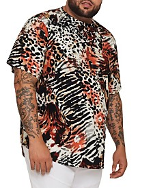 MVP Collections Big and Tall Animal Print Hi-Lo Tee