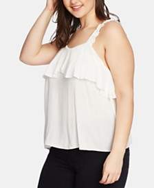 1.STATE Plus Size Ruched-Strap Flounce Cami
