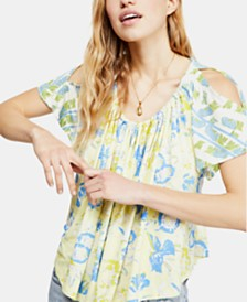 Free People Baja Babe Printed Tie-Back Top