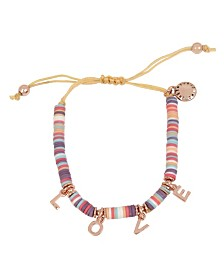 "BCBGeneration ""LOVE"" Affirmation Charm Multi Colored Beaded Adjustable Pulley Bracelet"