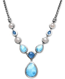 "Marahlago Multi-Stone Pendant Necklace in Sterling Silver, 16-1/4"" + 1"" extender"