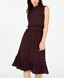 MICHAEL Michael Kors Printed Shirred-Waist Dress