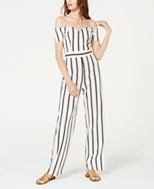 Teeze Me Juniors' Off-The-Shoulder Striped Jumpsuit