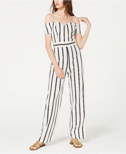 Teeze Me Juniors' Off-The-Shoulder Striped Jumpsuit