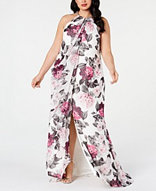 Plus Size Embellished Floral-Print Gown
