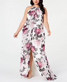 Calvin Klein Plus Size Embellished Floral-Print Gown
