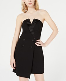 Trixxi Juniors' Asymmetrical Tuxedo Dress
