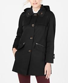 London Fog Petite Double Collar Hooded Raincoat