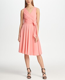 DKNY V-Neck Tie Waist A-Line Dress