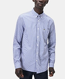 Lacoste Men's Regular-Fit Gingham Poplin Shirt