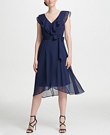 Ruffle V-Neck Chiffon Dress