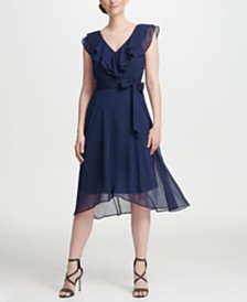 DKNY Ruffle V-Neck Chiffon Dress