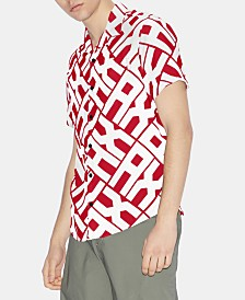 A|X Armani Exchange Men's Slim-Fit Allover Pop-Logo Short Sleeve Button Down Shirt