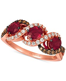 Le Vian® Passion Ruby (1-1/4 ct. t.w.), Vanilla Diamonds® (1/5 ct. t.w.) & Chocolate Diamonds® (1/5 ct. t.w.) Statement Ring in 14k Rose Gold
