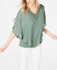 JM Collection Textured Crochet-Neck Top, Created for Macy's