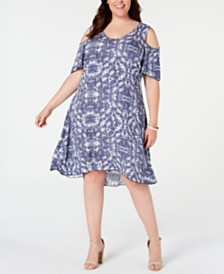 NY Collection Petite Plus Size Printed Cold-Shoulder Dress