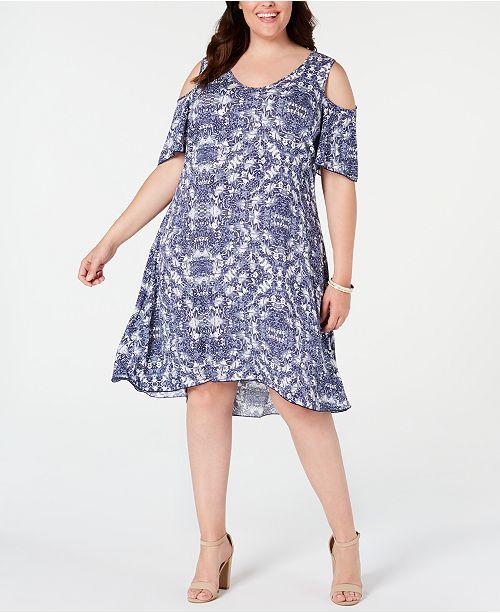 Petite Plus Size Printed Cold-Shoulder Dress