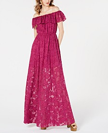 Clea Ruffled Off-The-Shoulder Gown