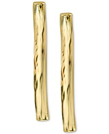 Argento Vivo Hammered Bar Stud Earrings in Gold-Plated Sterling Silver