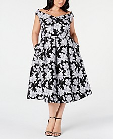 Plus Size Off-The-Shoulder Floral Fit & Flare Midi Dress