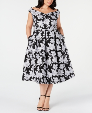 Plus Size Off-The-Shoulder Floral Fit & Flare Midi Dress in Black/Silver