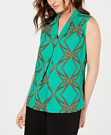 Sleeveless V-Neck Printed Blouse