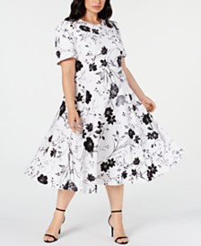 Calvin Klein Plus Size Floral-Print Midi Dress