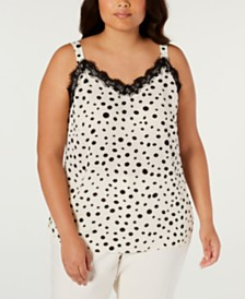Bar III Plus Size Polka Dot Camisole, Created for Macy's