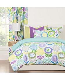 Pointillist Pansy 6 Piece Full Size Luxury Duvet Set