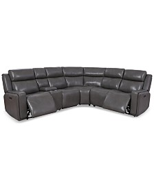 Saran 6-Pc. Leather Sectional Sofa with 2 Power Recliners, Console & USB Port