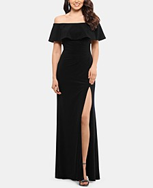 Petite Ruffled Off-The-Shoulder Gown