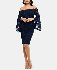 XSCAPE Petite Off-The-Shoulder Lace Sheath Dress